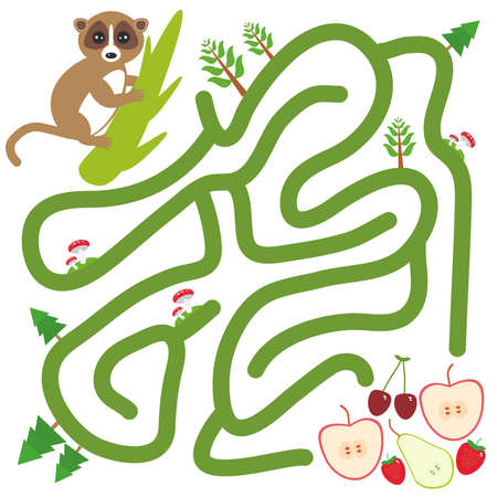 Lemur on the branch and the apple pear strawberry cherry on white background  labyrinth game for Preschool Children. Vector illustration Ilustração