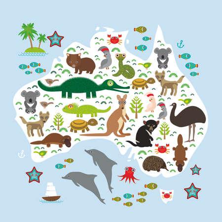 map of Australia. Echidna Platypus ostrich Emu Tasmanian devil Cockatoo parrot Wombat snake turtle crocodile kangaroo dingo octopus fish. Vector illustration