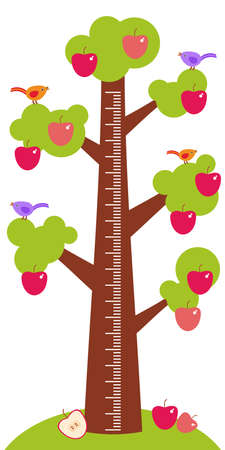 big smile: Big tree with green leaves birds and red apples on white background Children height meter wall sticker, kids measure. Vector illustration