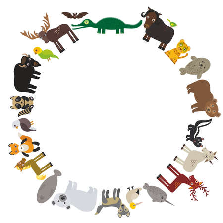 Animal round frame, bison bat manatee fox elk horse wolf fur seal Polar bear Mountain goat raccoon Eagle skunk parakeet Jaguar narwhal elk Grizzly gannet Muskox alligator. Vector illustration