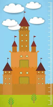 ร   ร   ร   ร  ร ยข  white clouds: Big old fairytale castle blue sky green grass and white clouds Children height meter wall sticker, kids measure. Vector illustration Illustration