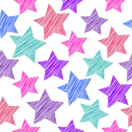 red pink: Sketch seamless pattern with stars. Red pink lilac blue stars on white background. Vector illustration Illustration