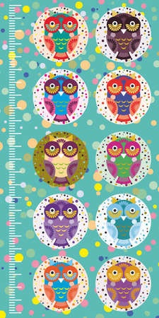 measure height: fun colored owls on blue background Children height meter wall sticker, kids measure. Vector illustration Illustration