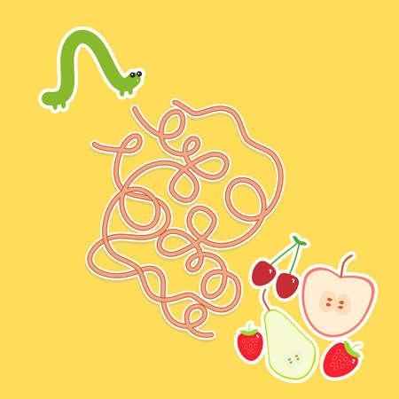 children caterpillar: Caterpillar and apple pear strawberry cherry on yellow background labyrinth game for Preschool Children. Vector illustration Illustration