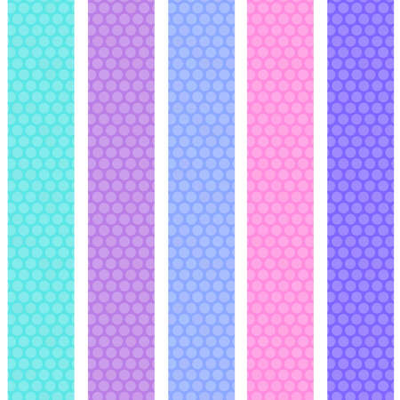 Polka dot background seamless pattern with pink lilac blue stripes. Vector illustration