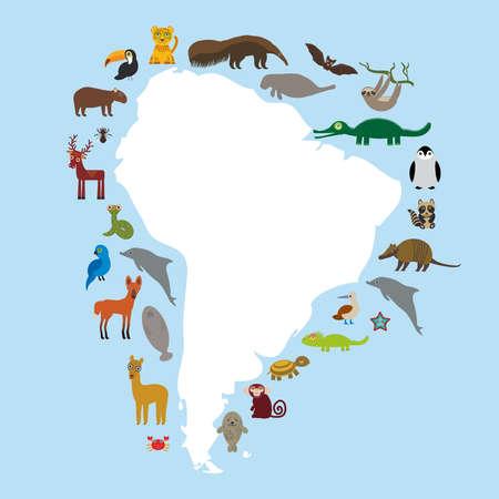 booby: South America sloth anteater toucan lama bat seal armadillo boa manatee monkey dolphin Maned wolf raccoon jaguar Hyacinth macaw lizard turtle crocodile deer penguin Blue-footed booby Capybara. Vector illustration