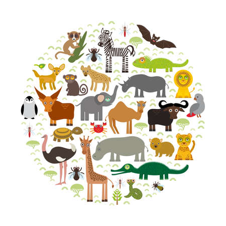 Dier Afrika: papegaai Hyena Rhinoceros Zebra Nijlpaard Crocodile Turtle Elephant Mamba slang kameel mosquito tsetse struisvogel maki Chameleon Monkey Fennec vos Leo Leopard Giraffe buffalo Penguin Vector Stock Illustratie
