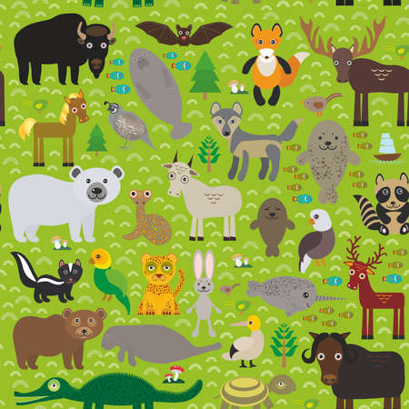manatee: seamless pattern bison bat manatee fox elk horse wolf partridge fur seal Polar bear Pit viper snake Mountain goat raccoon Eagle skunk parakeet Jaguar hare narwhal elk Grizzly gannet Muskox turtle alligator. Vector illustration