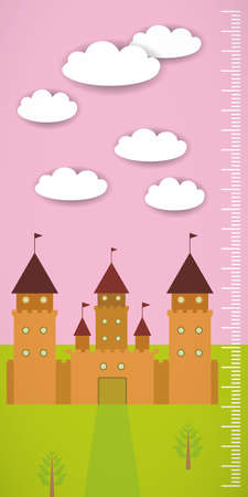 ร   ร   ร   ร  ร ยข  white clouds: Big old fairytale castle pink sky green grass and white clouds Children height meter wall sticker, kids measure. Vector illustration