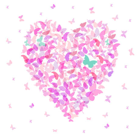 the season of romance: Heart - summer banner, card design, Colorful pink butterfly on white background. Vector illustration