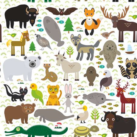 seamless pattern bison bat manatee fox elk horse wolf partridge fur seal Polar bear Pit viper snake Mountain goat raccoon Eagle skunk parakeet Jaguar hare narwhal elk Grizzly gannet Muskox turtle alligator. Vector illustration