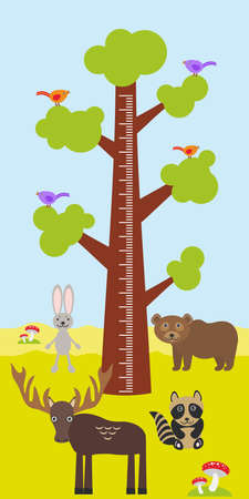 measure height: Big tree with green leaves, birds rabbit elk bear raccoon Children height meter wall sticker, kids measure. Vector illustration