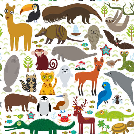 South America seamless pattern sloth anteater toucan lama bat fur seal armadillo boa manatee dolphin Maned wolf jaguar macaw lizard turtle crocodile deer penguin Blue-footed booby Capybara. Vector illustration Ilustração