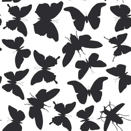 cicada: black butterflies cicada set isolated silhouette seamless pattern on white background. Vector illustration