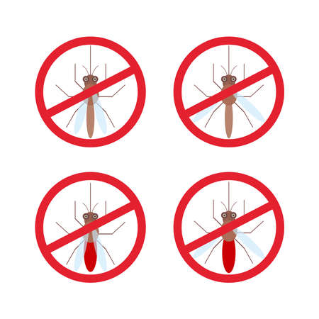 nile: stop mosquito sign in red circle. Vector illustration