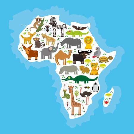 africa chameleon: Animal Africa: parrot Hyena Rhinoceros Zebra Hippopotamus Crocodile Turtle Elephant Mamba snake camel mosquito tsetse ostrich lemur Chameleon Monkey Fennec fox Leo Leopard Giraffe buffalo Penguin. Vector illustration Illustration