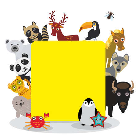 Cute Cartoon animals set toucan deer raccoon horse wolf Bison Penguin starfish crab seal leopard panda polar bear, frame on white background, card design, banner for text. Vector illustration