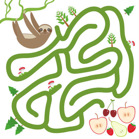 Three-toed slothful on a branch and the apple pear strawberry cherry on white background  labyrinth game for Preschool Children. Vector illustration