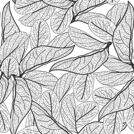 Leaves contours on white background. floral seamless pattern for fabric, wallpaper, pattern fills, web page background, surface textures. hand-drawn. Vector illustration