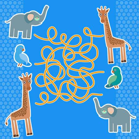 game bird: Bird parrot elephant and giraffe on blue background labyrinth game for Preschool Children. Vector illustration Illustration