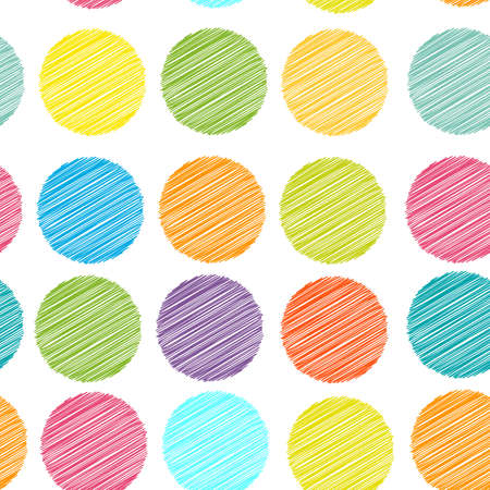 vintage children: rainbow color Polka dot background, seamless pattern. embroidery stitches. scribble dot on white background. Vector illustration Illustration
