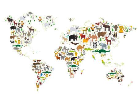 continente: Animal de la historieta mapa del mundo para los niños y niños, animales de todo el mundo en el fondo blanco. Ilustración vectorial Vectores