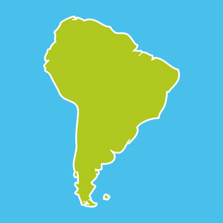 South America map blue ocean and green continent. Vector illustration