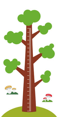 height measure: Big tree with green leaves on white background Children height meter wall sticker, kids measure. Vector illustration
