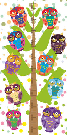 measure height: Big tree with green branches and fun colored owls on white background Children height meter wall sticker, kids measure. Vector illustration