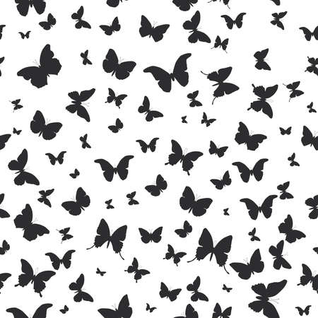 butterflies set isolated silhouette seamless pattern on white background. Vector illustration
