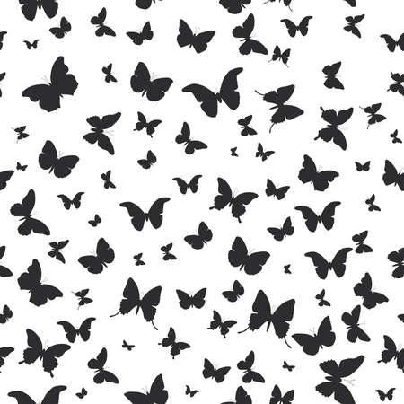 mariposa: mariposas conjunto aislado silueta patr�n transparente sobre fondo blanco. Ilustraci�n vectorial Vectores