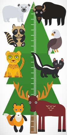 height measure: Big green tree spruce, polar bear bison eagle Leopard raccoon skunk elk fox on white background. Children height meter wall sticker, kids measure. Vector illustration