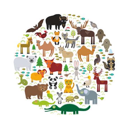 cartoon hare: Eurasia animal bison bat fox wolf elk horse cock camel partridge fur seal Walrus goats Polar bear Eagle bull raccoon snake sheep panda leopard Brown bear deer gannet Crocodile turtle elephant. Vector illustration