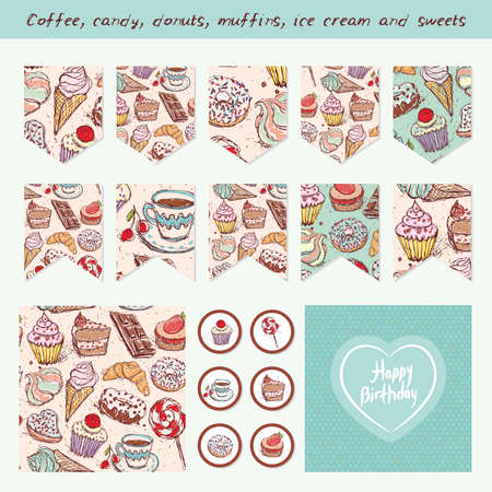 baby shower party: Scrapbook Design Elements Hand drawn confectionery set croissant Cupcake candy marshmallow ice cream cake donut and coffee. Birthday, baby shower, party, design. Vector illustration