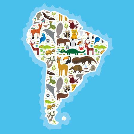 booby: South America sloth anteater toucan lama bat fur seal armadillo boa manatee monkey dolphin Maned wolf raccoon jaguar Hyacinth macaw lizard turtle crocodile deer Blue-footed booby Capybara. Vector illustration