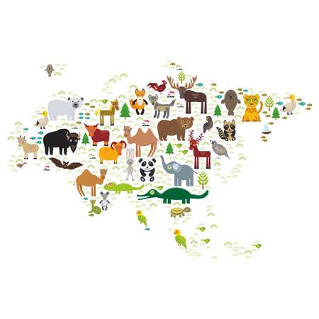 serpiente caricatura: Eurasia animal bisonte Palo del zorro lobo alces polla caballo perdiz camello Lobo marino cabras Morsa Oso polar Águila mapache toro leopardo panda ovejas serpiente marrón oso ciervos tortuga cocodrilo alcatraz elefante. Ilustración vectorial