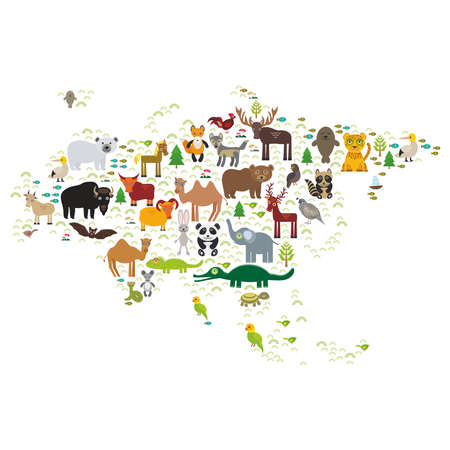 Eurasia animal bison bat fox wolf elk horse cock camel partridge fur seal Walrus goats Polar bear Eagle bull raccoon snake sheep panda leopard Brown bear deer gannet Crocodile turtle elephant. Vector illustration