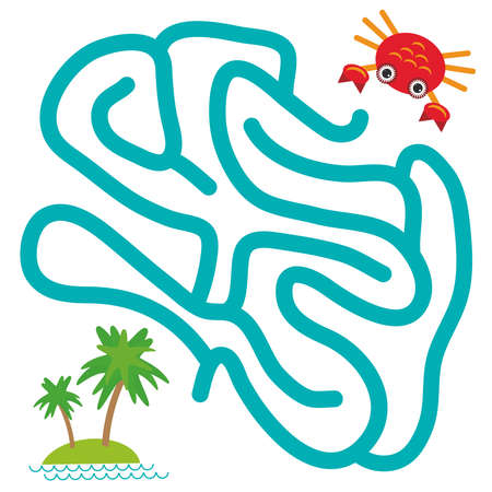 children crab: Red crab and island with palm trees on white background  labyrinth game for Preschool Children. Vector illustration