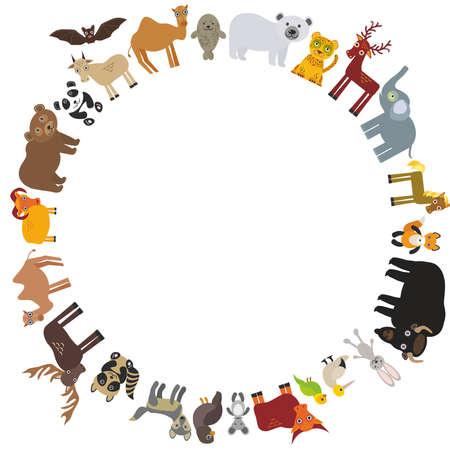 snow leopard: round frame. animal card template. bison bat fox wolf elk horse camel partridge fur seal Walrus goats Polar bear Eagle bull raccoon panda leopard Brown bear deer gannet elephant. Vector illustration