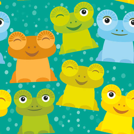 yellow green: Cute Cartoon funny frog set yellow green blue orange on turquoise background, seamless pattern. Vector illustration