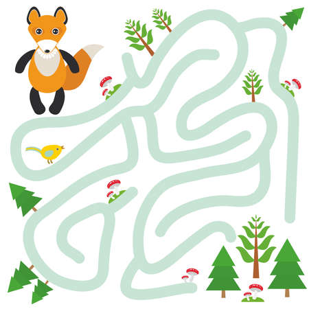 confused cartoon: Fox and the Forest on white background  labyrinth game for Preschool Children. Vector illustration