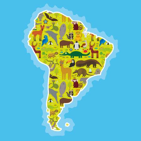 南米ナマケモノ アリクイ オオハシ ・ ラマ バット オットセイ アルマジロ ボア マナティー猿イルカ タテガミオオカミ アライグマ ジャガー スミレコンゴウインコ カメ ワニ鹿ペンギン アオアシカツオドリ カピバラ。ベクトル図 写真素材 - 42465272