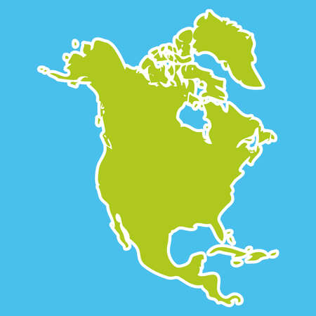 north america map: North America Map Green continent on blue background. Vector illustration