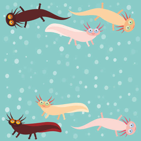 amphibia: Cute orange pink brown Axolotl Cartoon character on blue background in the aquarium (Mexican salamander, Ambystoma mexicanum) aquarium animal. Vector illustration