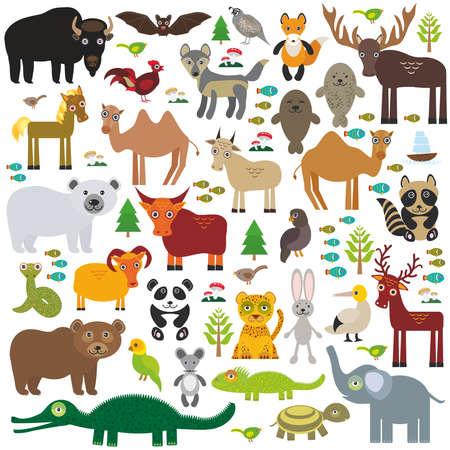 kuropatwa: Eurasia żubr zwierzę łoś nietoperz fox wilk futra wielbłąda kogut koń kuropatwa uszczelnić kozy Walrus Niedźwiedź polarny Eagle bull wąż owca panda szop lamparta Niedźwiedź brunatny jeleni głuptaków Crocodile żółw słonia. Ilustracji wektorowych Ilustracja