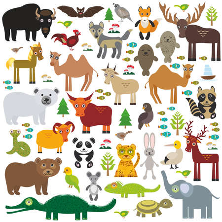 wolf: Eurasia animal bison bat fox wolf elk horse cock camel partridge fur seal Walrus goats Polar bear Eagle bull raccoon snake sheep panda leopard Brown bear deer gannet Crocodile turtle elephant. Vector illustration