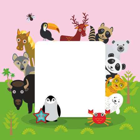 Cute Cartoon animals set toucan deer raccoon horse wolf Bison Penguin starfish crab seal leopard panda polar bear, frame, card design, banner for text. Vector illustration Ilustração