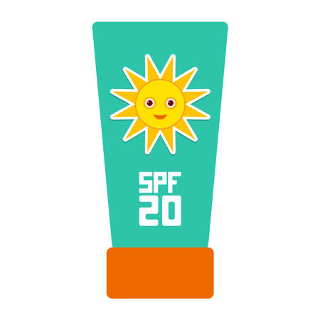 sun care: Suntan lotion Sun Cream Container.  Sunscreen SPF 20. The blue tube on white background. sun care cosmetics. Summer vacation beach. Vector illustration Illustration