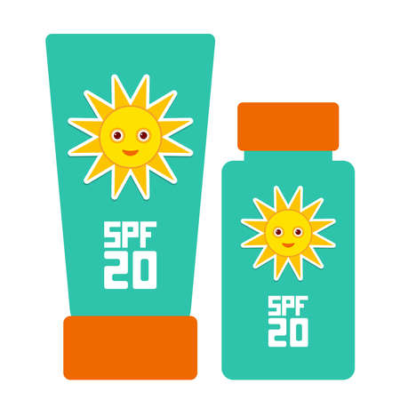 sun tanning: Tube container of sun cream Sunscreen SPF 20. The blue tube on white background. Summer, sun tanning and sunscreen concept. sun care cosmetics. Summer vacation beach. Vector illustration