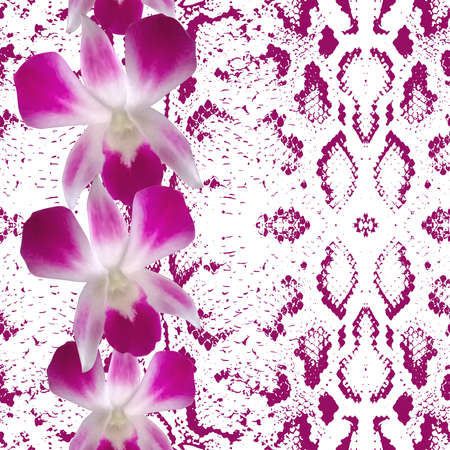 snakeskin: Snake skin texture pink flowers, orchid. Seamless pattern on white background. Vector illustration